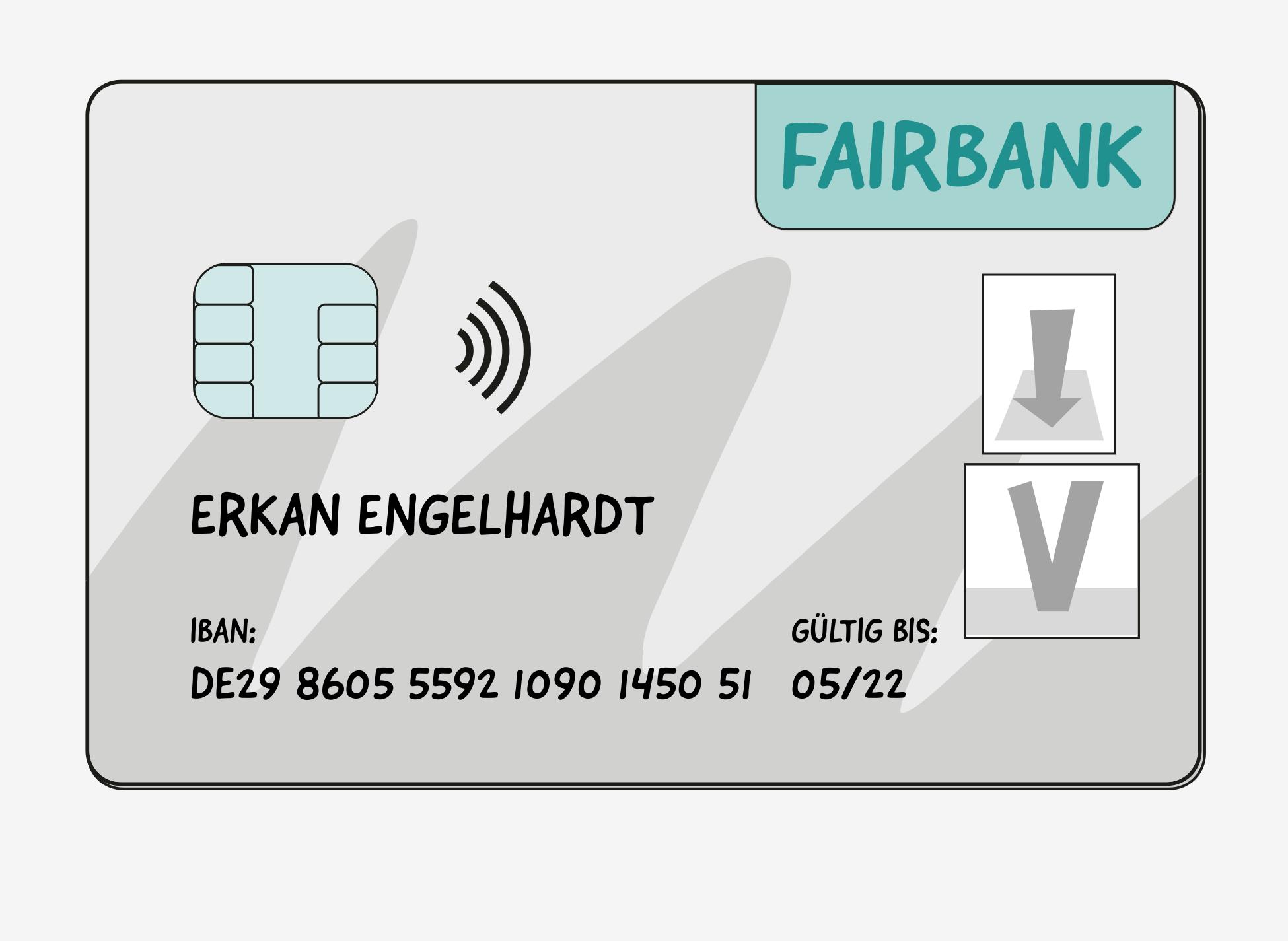 Vorderseite einer EC-Karte mit dem Logo der Fairbank, einem Speicher-Chip und dem wellenförmigen RFID-Symbol für kontaktloses Bezahlen. Die EC-Karte ist ausgestellt auf Erkan Engelhardt und gültig bis 05/22. Die IBAN ist: DE29 8505 5592 1090 1450 51.