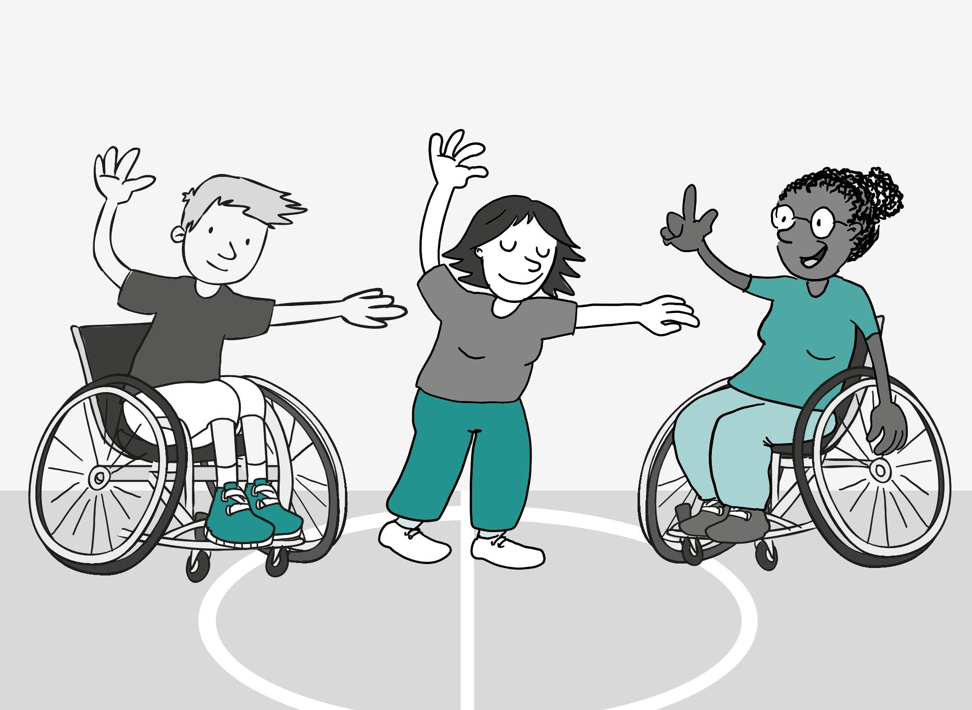 Eine ältere Dame im Sport-Rollstuhl gibt Anweisungen für eine Tanz-Übung. Ein junger Mann im Sport-Rollstuhl und eine stehende Frau führen die Übung aus. Beide haben die Arme im gleichen Winkel gehoben und die Oberkörper zur Seite geneigt.